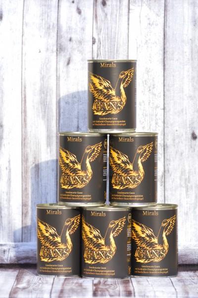 6 x 400g Geschmorte Bio-Gans mit Kohlrabi-Champignongemüse auf Stachelbeer-Sauerkirschspiegel