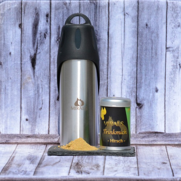 SET 1 x 50g Trinkmich Hirsch und 1 x eine schöne 750ml Mirals Trinkflasche